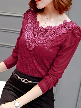 See-through Sleeves Lace Collar T-Shirt
