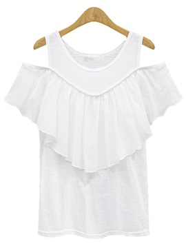 Stylish Falbala Decoration off-Shoulder T-Shirt