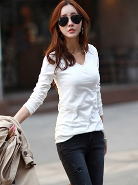 Casual Multi Color V neck T-Shirt