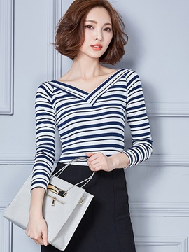 Stylish Colorful Stripe V Neck T-Shirt