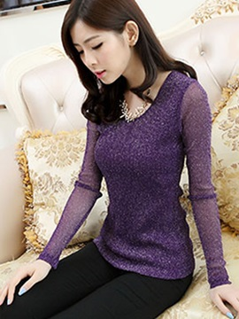Stylish Multi Color See Through Sleeve T-Shirt