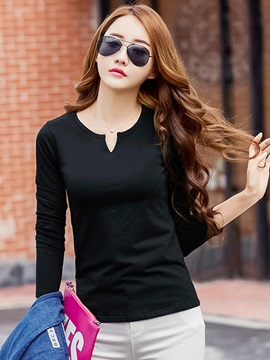 Casual Multi Color Round Neck Slim T-Shirt