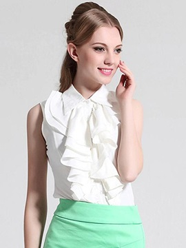 Stylish Ruffles Sleeveless Women's T-Shirt