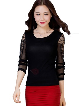 Stylish Patchwork Lace T-Shirt