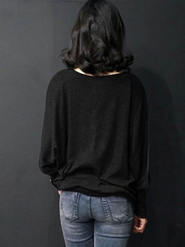 Casual Plain Batwing Sleeve Loose T-Shirt