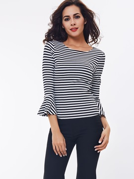 Stylish Stripe Flare Sleeve T-Shirt