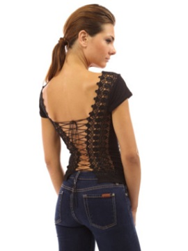 Stylish Backless Short Sleeve T-Shirt