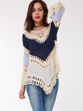 Stylish Color Block Hollow Loose T-Shirt