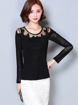 Stylish See-Through Round Neck T-Shirt