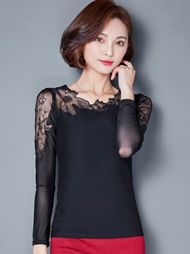 Stylish Lace Embroidery Slim T-Shirt