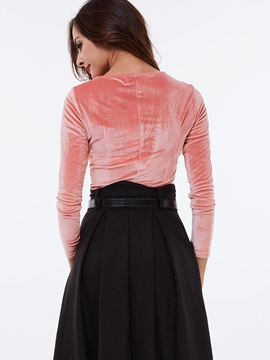Stylish Lace-Up Collar Slim T-Shirt