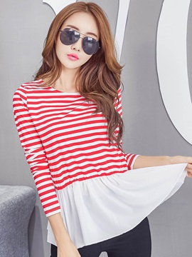 Stylish Stripe Printed Peplum T-Shirt
