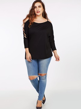 Stylish Sexy Off Shoulder Plus Size T-Shirt