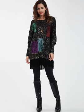 Stylish Tassel Decor Loose T-shirt