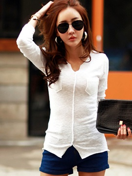 Stylish V-Neck Plain Slim T-Shirt
