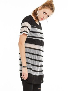 BF Style Stripe Color Block T-shirt