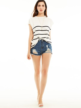 Loose Round Neck Stripe T-shirt