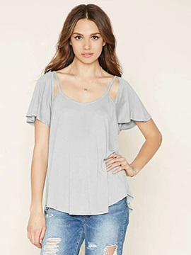 Flare Short Sleeve Plain T-Shirt