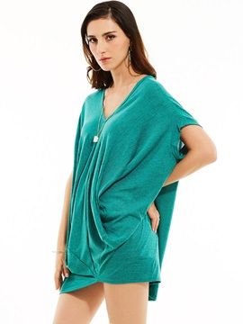 Loose V-Neck Batwing Sleeves Mid-Length T-shirt