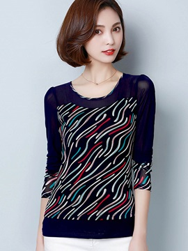 Stylish Slim Geometric Pattern T-Shirt