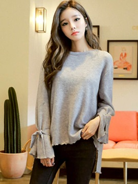 Loose Round Neck Wave Cut T-Shirt