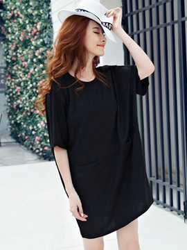 Plain Loose Mid-Length T-Shirt