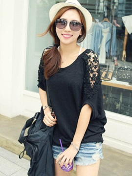 Loose Lace Batwing Sleeve T-Shirt