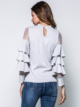 Plain Mesh Patchwork Ruffle Sleeve T-Shirt