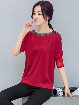 Loose Plain Patchwork Mesh T-Shirt