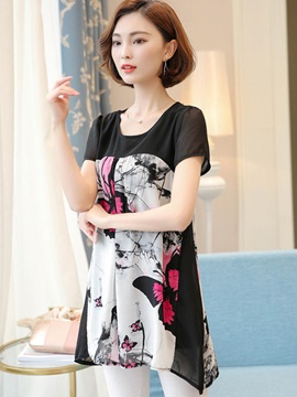 Loose Print Chiffon Mid-Length T-Shirt
