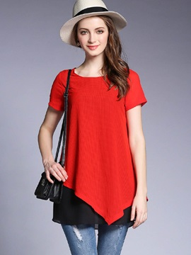 Loose Plain Double-Layer Mid-Length T-Shirt