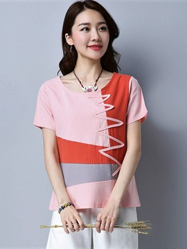 Loose Ethnic Color Block T-Shirt