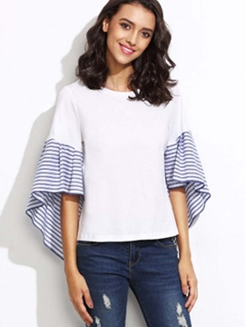 Casual Stripe Patchwork Flare Sleeve T-Shirt