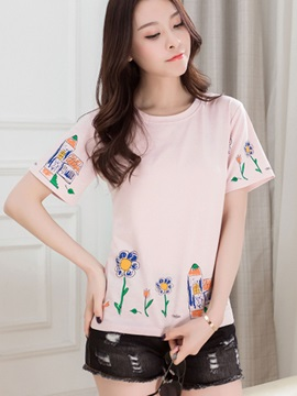 Casual Round Neck Print T-Shirt