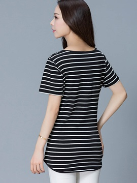 Round Neck Stripe Mid-Length T-Shirt