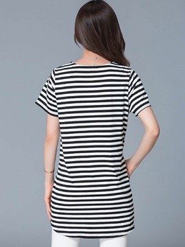 Casual Loose Round Neck Stripe T-Shirt