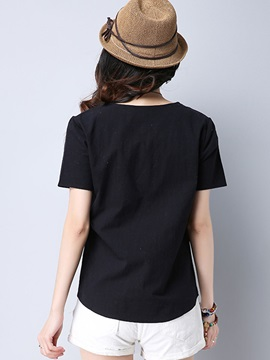 Loose Round Neck Embroidery T-Shirt