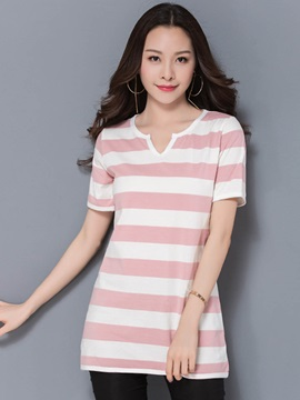 Loose Stripe Mid-Length T-Shirt