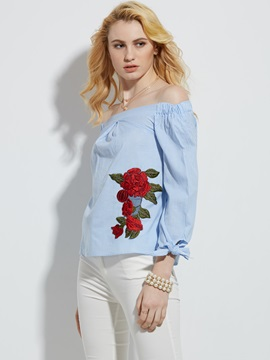 Slash Neck Embroidery Stripe T-Shirt