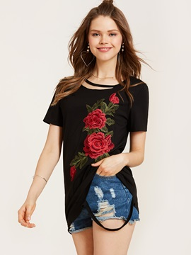 Stylish Round Neck Embroidery Hole T-Shirt