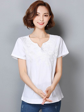 Loose Plain Embroidery T-Shirt
