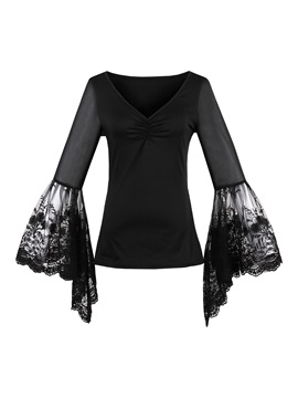 V-Neck Lace Bell Sleeve T-Shirt
