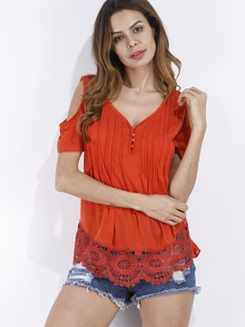 V-Neck Cold Shoulder Lace T-Shirt