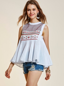 Embroidery Pleated Sleeveless T-Shirt