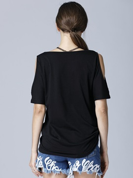 Plain Cold Shoulder T-Shirt