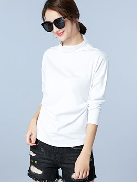 Turtleneck Plain T-Shirt