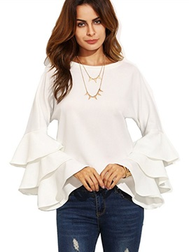 Plain Round Neck Flare Sleeve T-Shirt
