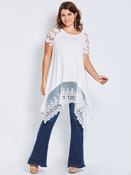 Plus Size Lace Irregular Women's T-Shirt