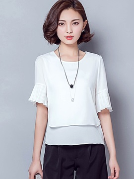 Plain Double-Layer Pleated Blouse
