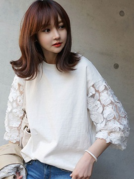 Loose Lace Patchwork Sleeve T-Shirt